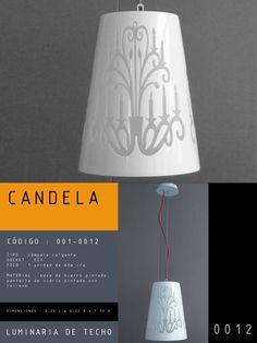 Luminaria de Techo modelo CANDELA CÓDIGO : 001-0012 TIPO : Lámpara colgante SOCKET : E27  FOCO : 1 unidad de 60w c/u MATERIAL : Vidrio DIMENSIONES : 0.22 L x 0.22 A x 1.10 H