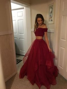 Two Pieces Red Prom Dress,Tulle Off Shoulder Evening Dresses Prom Gowns Tulle Prom Dresses Cheap,Long Party Gowns