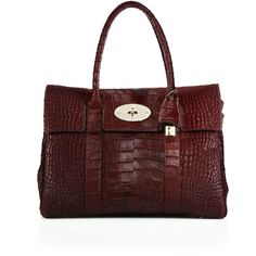 Mulberry Bayswater Crocodile-Embossed Calf Hair Satchel ($3,200) ❤ liked on Polyvore featuring bags, handbags, apparel & accessories, oxblood, croc handbags, red satchel handbags, mulberry purse, red satchel and red handbags