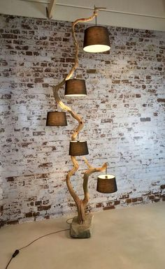 Rustic Lighting, Interior Lighting, Outdoor Lighting, Unique Floor Lamps, Diy Floor Lamp, Wood Lamps, Driftwood Lamp, Diy Lamps, Wooden Diy