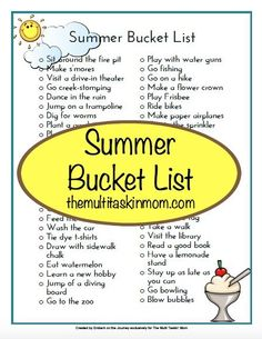 A Free Summer Bucket List to keep the summer learning going all season long!