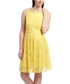 Look at this Sandra Darren Yellow Lace Fit & Flare Dress on #zulily today!
