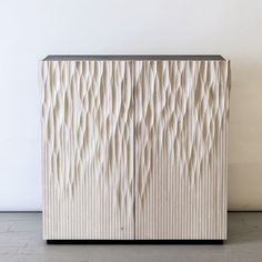 """Carved bleached cherry and sandblasted black basalt cabinet we produced for @gt2p solo show up now @friedman_benda """"Manufactured…"""