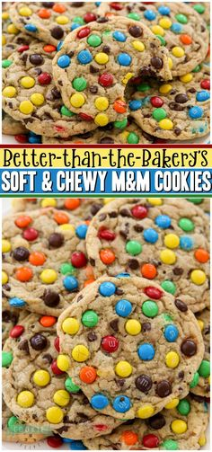 Soft & Chewy M&M Cookies made with butter, sugars, pudding mix & M&M's candy! Easy tip for coating your cookies PERFECTLY with M&M's! BEST #M&M Cookie recipe ever!#cookies #recipe #baking #dessert #softcookies #M&Mcookies from FAMILY COOKIE RECIPES via @familycookierecipes Easy No Bake Desserts, Easy Baking Recipes, Best Cookie Recipes, Easy Desserts, Sweet Recipes, Delicious Desserts, Dessert Recipes, Top Recipes, Baking Ideas
