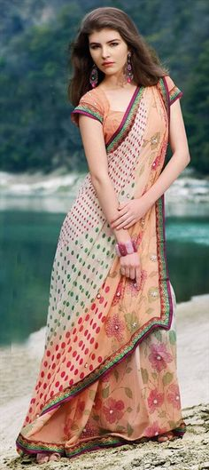 Designer James showed the #babycolor #floral prints on #pastel color saree at #WIFW 2013 runways. Soothing yet making a mark.  Code- 75787