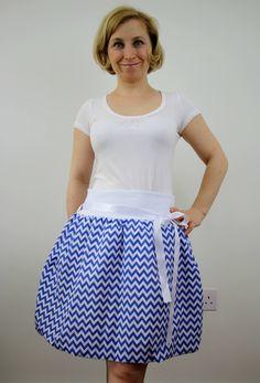 Chevron blue bubble skirt, balloon skirt, ruffle skirt, cotton skirt, elastic waist skirt, knee length skirt, summer clothing, casual wear by ElzahDesign on Etsy