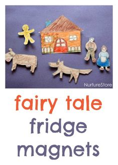 Create a set of DIY fairy tale fridge magnets for creative storytelling. Great to keep kids busy while you're cooking!