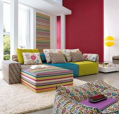 cheerful yellow sofas with assorted color idea feats cute polka-dots pattern puff and thick white rug