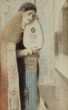 Fernard Knopff (full name: Fernand Edmond Jean Marie Khnopff, 1858-1921), was a Belgian symbolist painter.