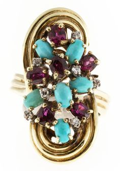 Turquoise Ruby Diamond Gold Ring image 4