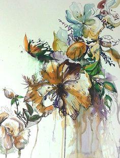 watercolour painting flowers floral butterfly https://www.facebook.com/RebeccaYoxallArt