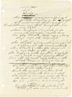 Handwritten lyrics to early Jungleland by Bruce Springsteen