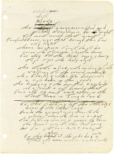 Handwritten lyrics to early Jungleland by Bruce Springsteen