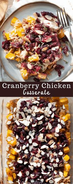 Cozy up to sweet, savory, tangy flavor with this Cranberry Chicken Casserole. Made with rice, chicken, and an incredible cranberry, orange juice, soy sauce, maple syrup combo, this dish is a winner for any night of the week. Cranberry Rice, Cranberry Chicken, Cranberry Recipes, Fall Recipes, Thanksgiving Recipes, Low Calorie Recipes, Healthy Dinner Recipes, Fall Casseroles, Healthy Chicken Casserole