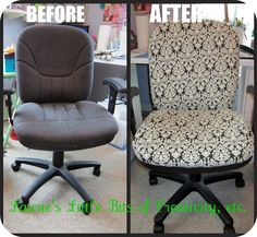 Laurie's Little Bits of Creativity, etc.: Craft Room Chair Re-Do Chair Repair, Furniture Repair, Diy Furniture, Furniture Reupholstery, Chair Upholstery, Refurbished Furniture, Home Office Furniture, Recover Office Chairs, Chair Redo
