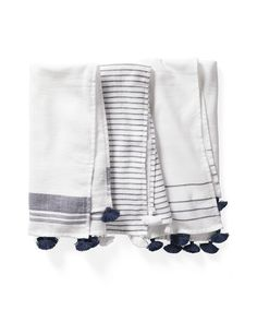 Our fashion-forward guest towels bring a dash of style to the bath with chic tassels and beachy stri Blue Towels, White Towels, Guest Towels, Hand Towels, Guest Bathroom Remodel, Classic White Kitchen, Nautical Bathroom Decor, Bathroom Towels, Paint Bathroom