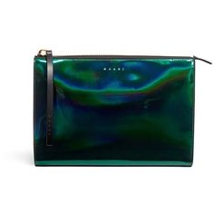 Marni 'Kori' hologram mirror leather clutch (14.195 ARS) ❤ liked on Polyvore featuring bags, handbags, clutches, leather purse, blue clutches, marni purse, hologram purse and blue purse