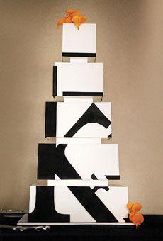 Modern, black and white monogram wedding cake