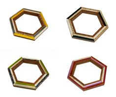 Hex Bangle. Bangle. Hexagonal. Wood. Perspex. Colours. Handmade. By Wolf and Moon