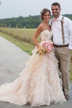 Newest Tiered Court Train Bridal Dresses Sleeveless Sweetheart Ruffles 2018 Wedding Dress