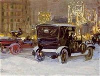 Wintery evenings in Times Square by Charles Hoffbauer