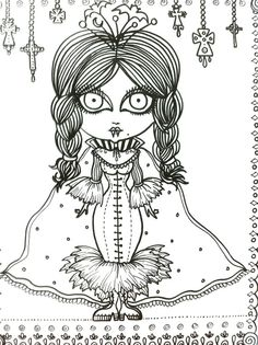 vampire vixens coloring book page goth gothic halloween fantasy fantasie fantasia fantasi colouring adult detailed