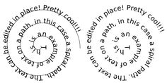 Text on a spiral path.  Using the free program inkscape.  then export it to photoshop (if you only have elements - this is the free way to do it.)