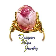 Romantic Faceted Crystal Rose in Pink Gold Wire Wrap Ring All Sizes. Starting at…