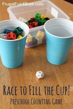 to Fill the Cup! Counting Game for Preschoolers Race to Fill the Cup! It's an easy game to play at the beginning of school to work on number sense.Race to Fill the Cup! It's an easy game to play at the beginning of school to work on number sense. Numbers Preschool, Preschool Games, Math Numbers, Math Games For Preschoolers, Decomposing Numbers, Maths Games For Kids, Maths Games Ks1, Easy Math Games, Maths Eyfs
