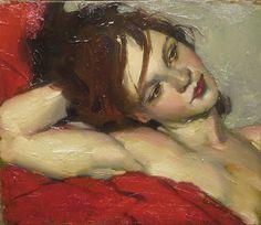 Malcolm Liepke - 'Resting On Her Arm' - Telluride Gallery of Fine Art