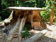 Fairy Home in old stump.  Love the flat roof/slate top!