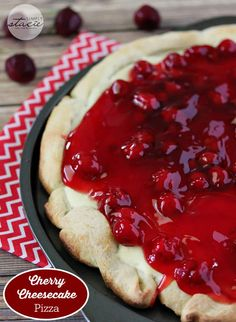 Dig into this decadent dessert, Cherry Cheesecake Pizza, made with refrigerated pizza crust. A unique dessert pizza that is sure to impress! Cheesecake Desserts, Köstliche Desserts, Delicious Desserts, Dessert Recipes, Sopapilla Cheesecake, Cherry Desserts, Fruit Recipes, Summer Recipes, Unique Desserts