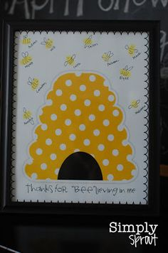 Buzzing with Appreciation Teacher Appreciation week freebies bee theme ~ Simply Sprout *K(possibly for children's scrapbook each school year - get all kids to stamp their fingers)