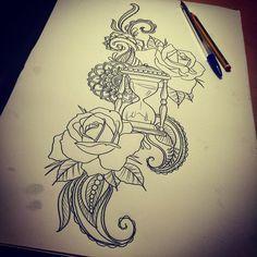 "33 Likes, 1 Comments - Dzeraldas Jerry Kudrevicius (@atlantic_coast_tattoo) on Instagram: ""#tattooideas #tattoodesign #mendi #rose #rosetattoo #hourglass #atlanticcoasttattoo #newquay…"""