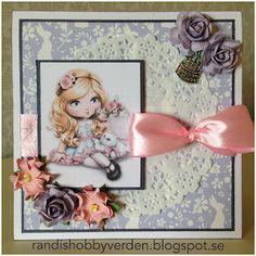 Randis hobbyverden: Bursdagskort i rosa og lilla