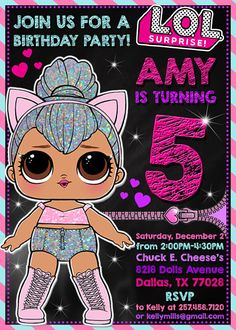 LOL Surprise Birthday Invitation >> The invite will be sent to you only via email to your email address in JPG and PDF file formats as well! YOU WILL RECEIVE READY PRINT FILES! The files can then be printed at home or a local printing vendor moreover on online photo processing