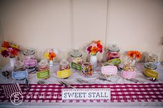 Sweet stall table / candy buffet ~ a village fete themed wedding