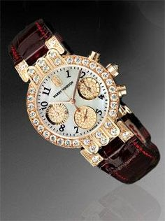 ac9bed1a48c3d1 Harry Winston 18K Rose Gold Premier ladies Chronograph with Diamonds on  Crocodile strap. Available at
