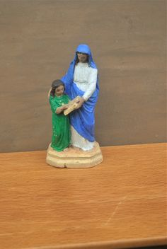 Folk Art St. Anne Statue. Holy Plaster Statue of Saint Anne with Virgin Mary. Handmade & Hand Painted. Religious Home Decor or Gift. by GoldenGully on Etsy