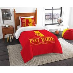 NCAA Gorillas Comforter Twin Set Red Yellow Sports Patterned Collegiate Football Themed Bedding Team Logo Fan Merchandise Athletic Team Spirit Fan Polyester Unisex