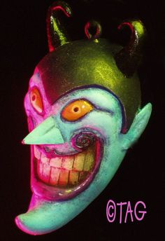Handpainted Grinning Devil Ornament by Tom Taggart by tomtaggart, $50.00