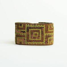 Green loom beaded bracelet, Wise Athena Bracelet, Penelope Collection, Olive green and antique gold beads, Bohemian bracelet, boho style