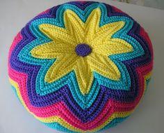 Retro Razzamatazz Cushion made by JustJen- follow links to pattern