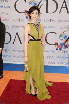 Emmy Rossum, in J. Mendel, attends the 2014 CFDA fashion awards at Alice Tully Hall, Lincoln Center on June 2, 2014 in New York City.