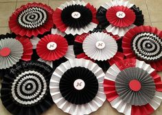 Red, Black and white Party decor Set of 20 Extra Large Paper Rosettes in your colors