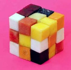 Rubic cube fruit salad.
