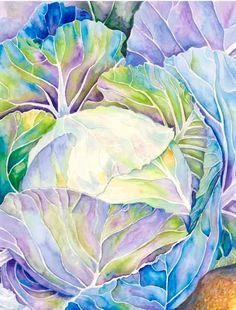 Beautiful acrylic painting of lettuce ! Liking the color of the leaves!