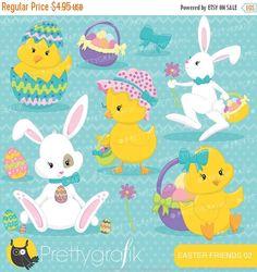 80% OFF SALE easter friends easter bunny by Prettygrafikdesign