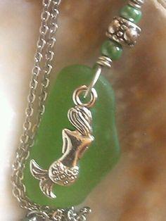 "Mermaid Hawaiian Sea Glass Jewelry Necklace 23.5"" Stainless Chain Green Myth #Handmade #Pendant"