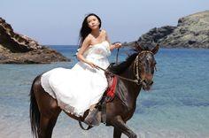 weddings in Mykonos by www.spyrospaloukis.com Mykonos, Destination Wedding Photographer, Wedding Photography, Horses, Weddings, Animals, Animales, Animaux, Wedding